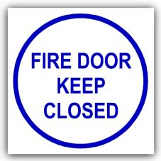1 x Fire Door Keep Closed-87mm,Blue on White-Health and Safety Security Door Warning Sticker Sign-87mm,Blue on White-Health and Safety Security Door Warning